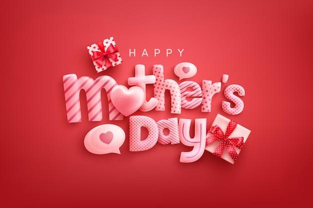 Carta di felice festa della mamma con carattere carino, cuori dolci e scatole regalo su sfondo rosso