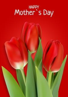 Happy mother s day card con realistici fiori di tulipano.