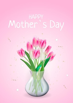 Biglietto festa della mamma felice con fiori tulipano realistici.