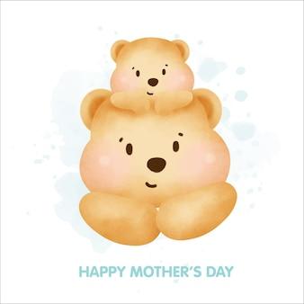 Felice festa della mamma simpatico orsacchiotto e il suo bambino.