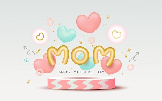 Felice festa della mamma decorazione con palloncino a forma di cuore 3d, podio rosa, bolla ed elementi adorabili.