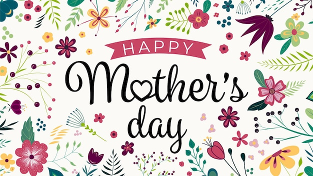 Buona festa della mamma. design elegante biglietto di auguri con testo elegante festa della mamma su fiori colorati disegnare a mano