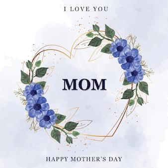 Cornice di festa della mamma felice con acquerello di fiori