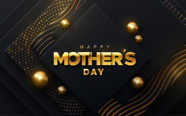 Segno dorato di felice festa della mamma su forme nere con brillantini e sfere luccicanti