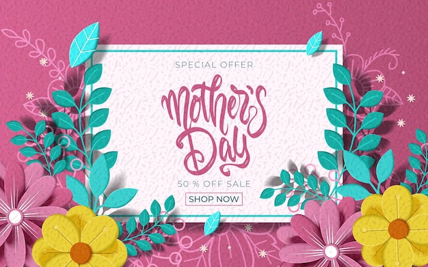 Cartolina d'auguri di felice festa della mamma con bellissimi fiori