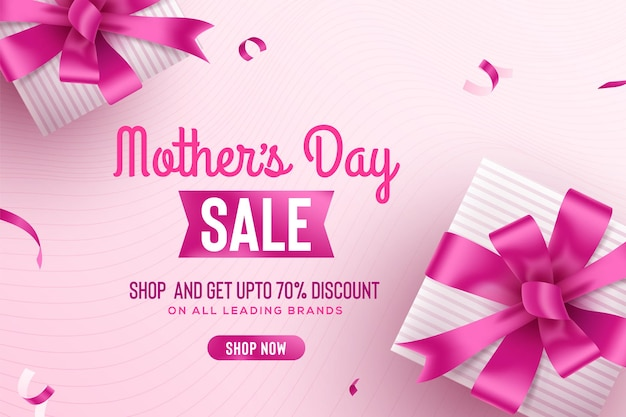 Felice festa della mamma saluto banner di vendita con confezione regalo rosa e nastri
