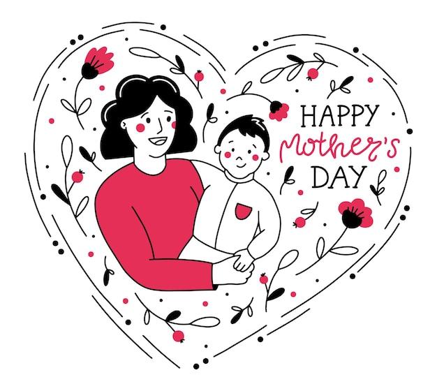 Illustrazione di felice festa della mamma in stile doodle con mamma e bambino