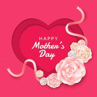 Felice festa della mamma layout con rose, scritte, carta tagliata e texture di sfondo. illustrazione.