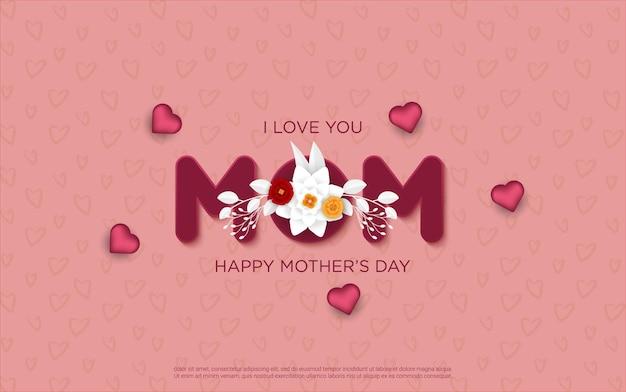 Lettere di festa della mamma felice con floreale realistico