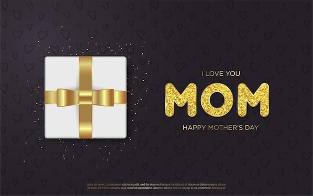 Lettere di festa della mamma felice con confezione regalo realistica
