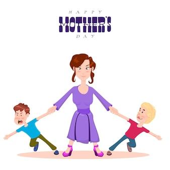 Felice festa della mamma, la mamma tiene le mani dei personaggi dei cartoni animati dei bambini, stile piatto.