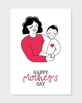 Cartolina felice festa della mamma in stile doodle, la mamma tiene il bambino
