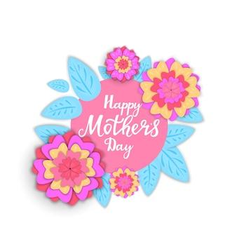 Felice festa della mamma poster o banner design con fiori primaverili in stile carta tagliata.