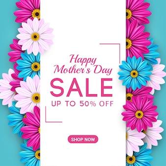 Modello di banner di vendita felice festa della mamma