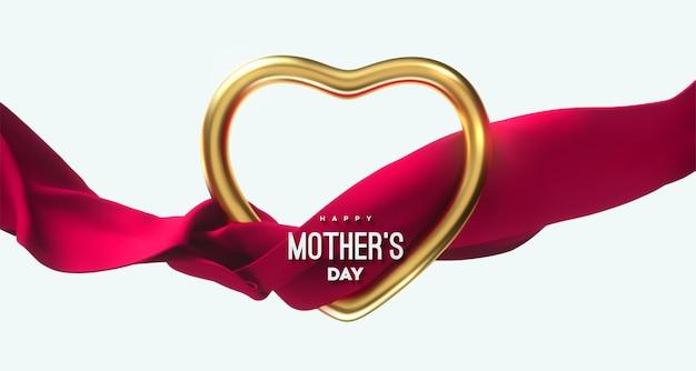 Segno di felice festa della mamma con cornice dorata a forma di cuore e panno che scorre Vettore Premium