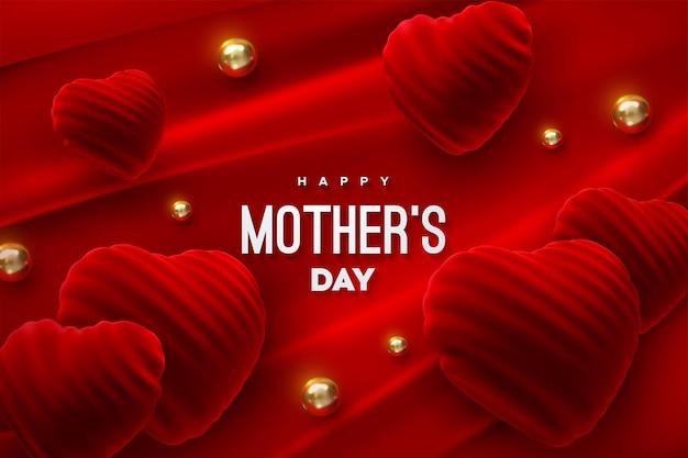 Segno di festa della mamma felice con forme di cuore di velluto rosso e perline dorate su sfondo di tessuto rosso
