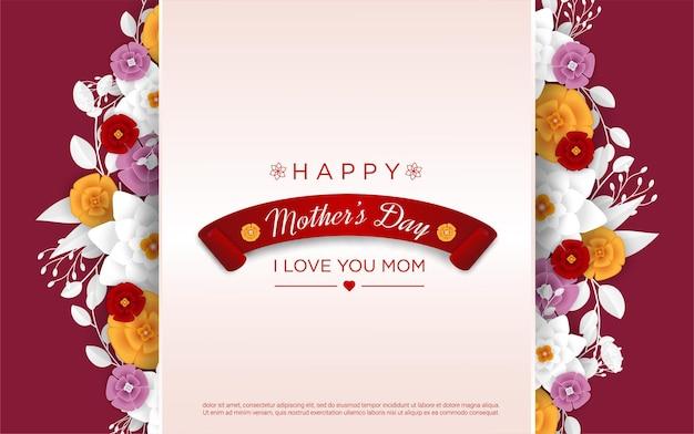 Felice festa della mamma con floreale