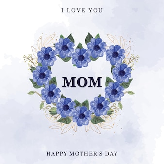 Felice festa della mamma con fiore acquerello