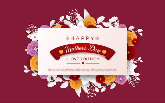 Felice festa della mamma con fiori realistici
