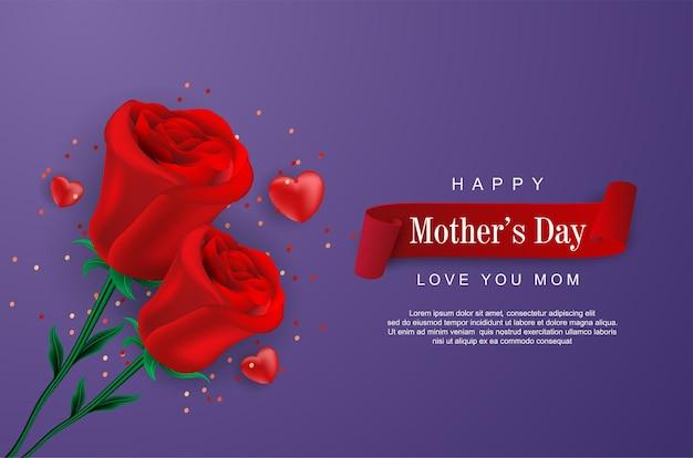 Felice festa della mamma con fiore realistico