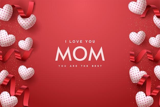Buona festa della mamma con palloncino bianco amore e nastro rosso.