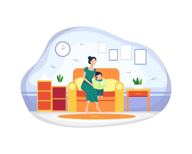 Madre felice con sua figlia. madre e figlia che leggono il libro di storia insieme seduti sul divano. favola della buonanotte, concetto di maternità educazione dei figli. illustrazione vettoriale in uno stile piatto