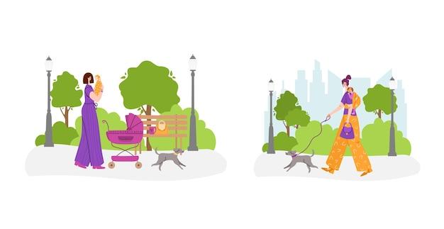 Felice maternità e maternità concetto - donna con bambino in borsa a tracolla e ragazza con carrozzina nel parco all'aperto - illustrazione set