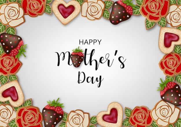 Fondo felice di giorno di madri con dolci e fragole