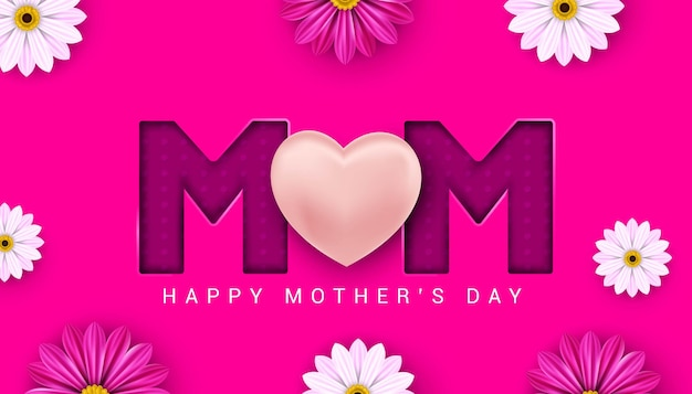 Felice festa della mamma banner su sfondo rosa illustrazione