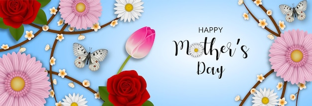 Bandiera di giorno di madri felice con fiori e farfalle