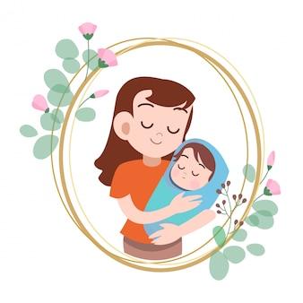 Illustrazione felice di vettore di saluto della carta di giorno di madri