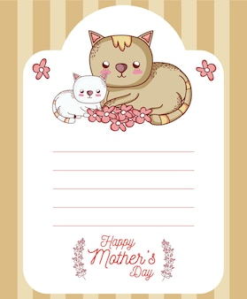 Scheda di giorno di madri felice con cartoni animati di animali carini
