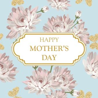 Buona festa della mamma. modello di crisantemi su sfondo verde azzurro con cornice e testo.