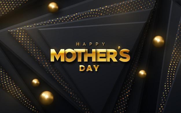 Segno dorato di giorno di madri felice sulle forme geometriche nere del triangolo strutturato