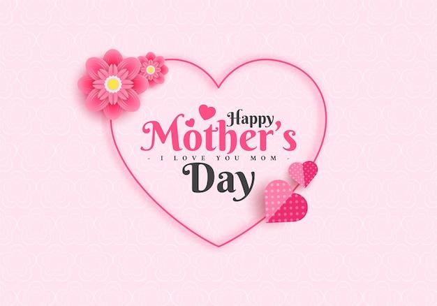Disegno di cartolina d'auguri di felice festa della mamma con fiore e lettera di tipografia su sfondo rosa