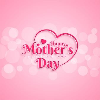 Progettazione di cartolina d'auguri di felice festa della mamma con lettera di tipografia su sfondo rosa