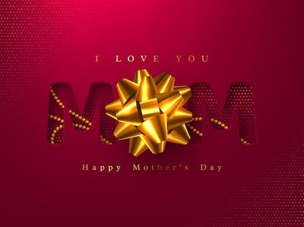 Cartolina d'auguri di felice festa della mamma. design tipografico con taglio di carta con perline realistiche 3d e fiocco lucido. effetto mezzitoni rosso. illustrazione.