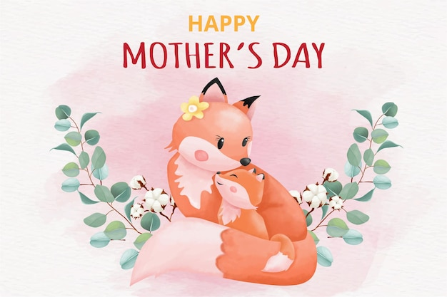 Cartolina d'auguri di felice festa della mamma con le volpi
