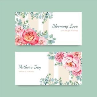 Set di cartoline d'auguri di felice festa della mamma