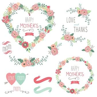 Elementi di saluto di giorno di madri felice