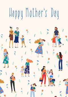 Illustrazione di happy mothers day con donne e bambini.