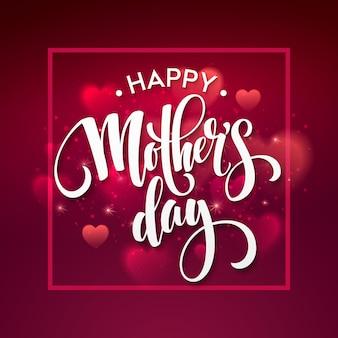 Lettering felice festa della mamma. cartolina d'auguri di giorno di madri. eps10
