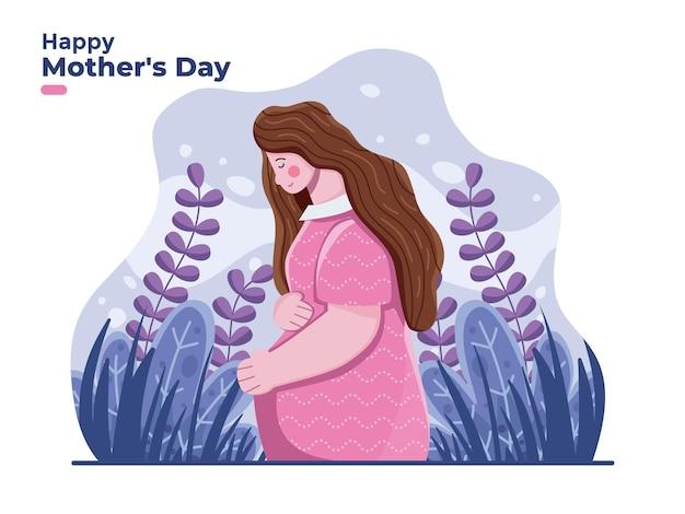 Felice festa della mamma con illustrazione di mamma incinta con sfondo floreale
