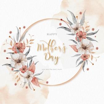 Happy mothers day con corona vintage fiori e foglie acquerello