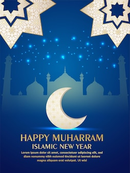 Volantino per festa di celebrazione di muharram felice con motivo luna e moschea