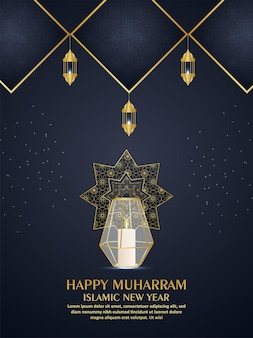 Lanterna realistica di muharram felice sul fondo nero e dorato del modello