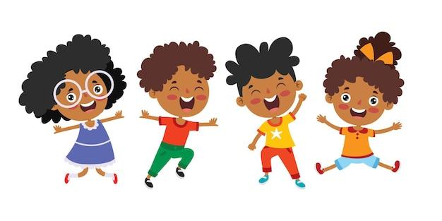 Bambini multietnici felici che giocano insieme