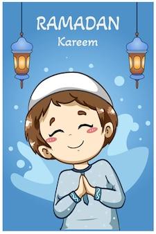 Felice ragazzo musulmano saluto ramadan kareem fumetto illustrazione