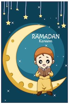 Ragazzo musulmano felice che legge un libro sulla luna nell'illustrazione del fumetto di ramadan kareem