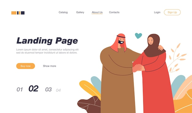 Felice coppia musulmana che si tiene per mano